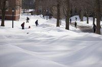 Students navigate a sea of snow on Feb. 14. (Phyllis Graber Jensen/Bates College)