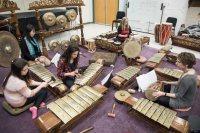 The Bates Gamelan Ensemble, led by Associate Professor of Music Gina Fatone, rehearses at the Olin Arts Center in February.