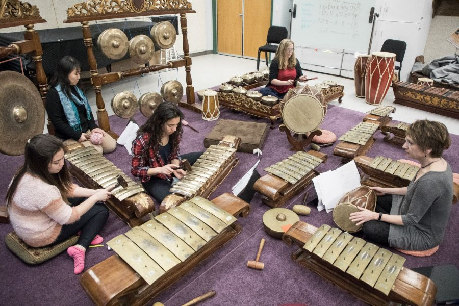 The Bates Gamelan Ensemble, led by Associate Professor of Music Gina Fatone, rehearses at the Olin Arts Center on Feb. 8, 2017.