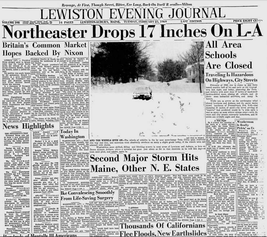 The Lewiston Evening Journal</em?'s banner headline on Feb. 25 announces 17 inches of snow.