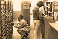 Students do pre-computer information retrieval, circa 1974, using the library's card catalog. (Muskie Archives and Special Collections Library)