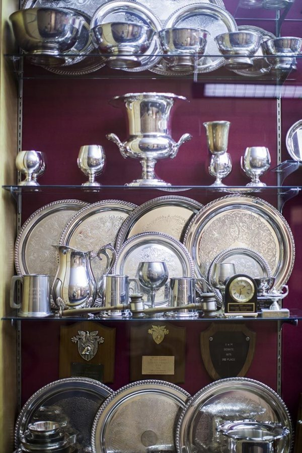 The ever-growing collection of Bates debating trophies in Pettigrew Hall.