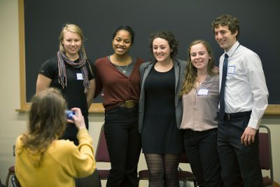 The strength of the Bates academic community is a theme of the Mount David Summit. Here, senior religious studies majors Emilie Muller, Esperanza Gilbert, Wendy Goldman, Melissa Carp, and Alex Tritell '16 pose for a photo before their presentation at the 2016 summit. (Phyllis Graber Jensen/Bates College)