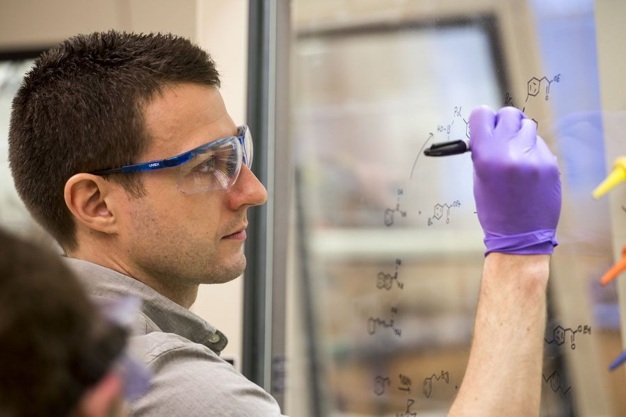 Alex Gogliettino's thesis adviser is Assistant Professor of Chemistry Andrew Kennedy, shown teaching an organic chemistry lab on Feb. 9 2017, in Dana Chemistry Hall. (Josh Kuckens/Bates College)