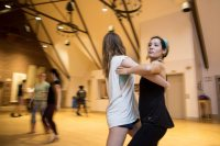 Christina Lang '18 of Novato, Calif., dances with Erin Fuller '18 of Reno, Nev.