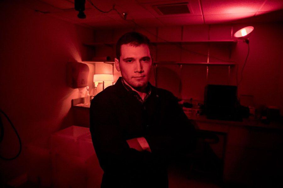 Alex Gogliettino '17 of Branford, Conn., poses in a Carnegie Science Hall laboratory on Feb. 28, 2017. (Josh Kuckens/Bates College)