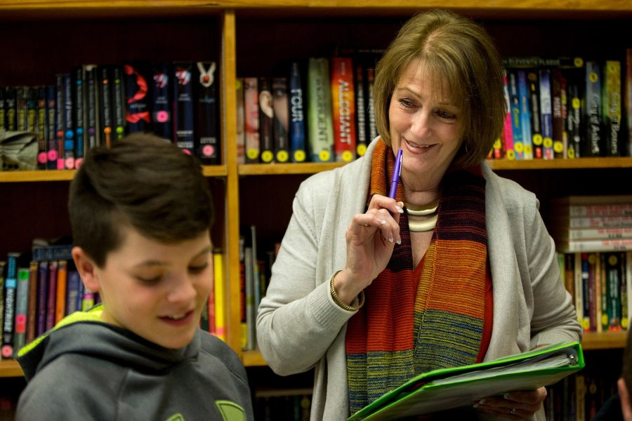 Sue Weber '74 has taught literacy at Lewiston Middle School for 18 years. (Phyllis Graber Jensen/Bates College)