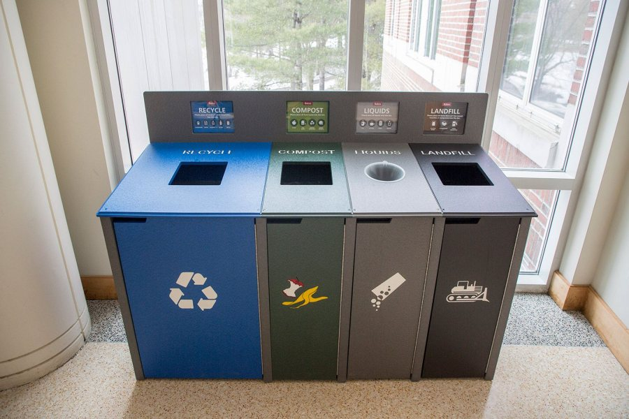 Pettengill Hall, where the waste collection stations made their campus debut, is home to several of them. (Josh Kuckens/Bates College)