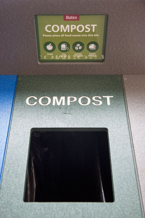 The new waste-receptacle system broadens compost collection beyond Dining Services for the first time at Bates. (Josh Kuckens/Bates College)
