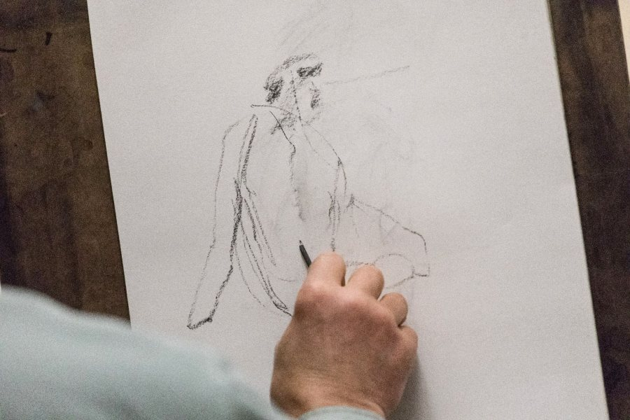 Maine residents join Bates students for a Figure Drawing session in Olin on Wednesday evening, Mar. 8 2017.