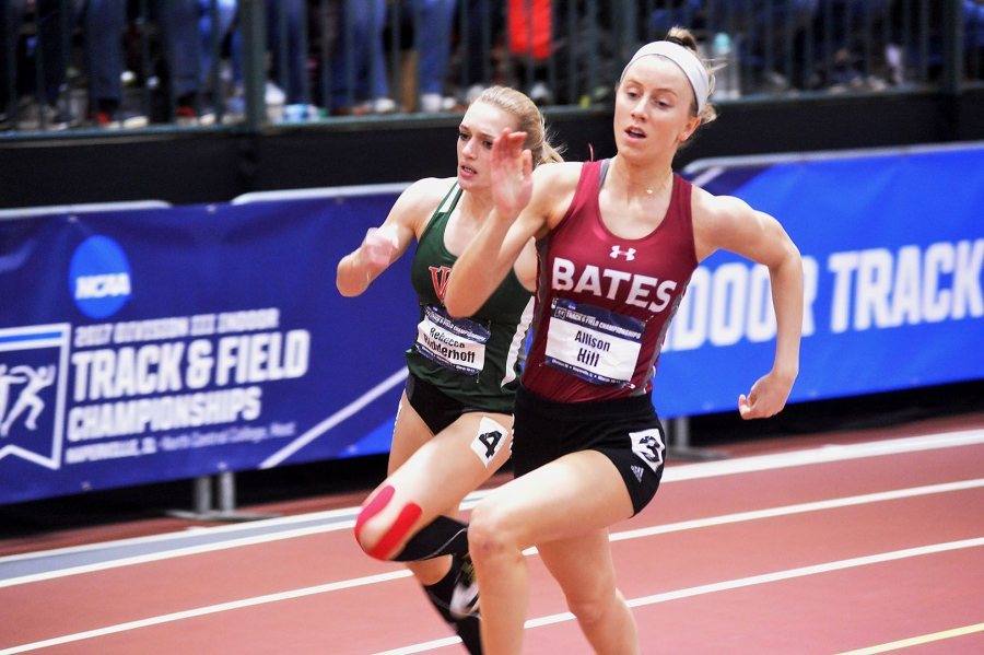 Allison Hill competes in the finals of the 200-meter dash, in which she posted a surprise fourth-place finish on March 11 at the NCAA Indoor Track and Field Championships. (Photograph by d3photography.com)