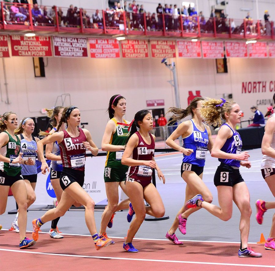"Jessica Wilson '17 competes in the 3,000 meter run. ""It hurt, it really hurt,"" she said. ""But you just have to be comfortable with being uncomfortable."" (Photograph by d3photography.com)"