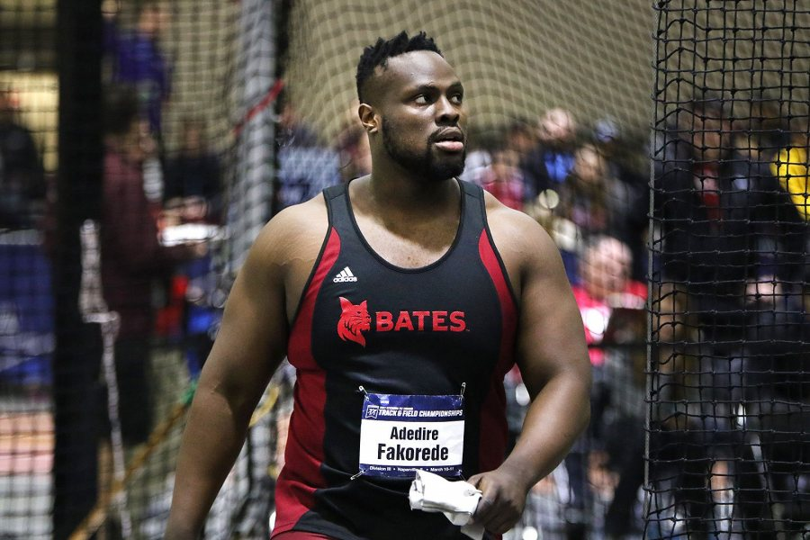 "Weight thrower Adedire Fakorede '18 of Newark, N.J., who earned All-America honors at the NCAA meet, predicted that Hill would do something ""amazing"" in the 200 meters. (Photograph by d3photography.com)"