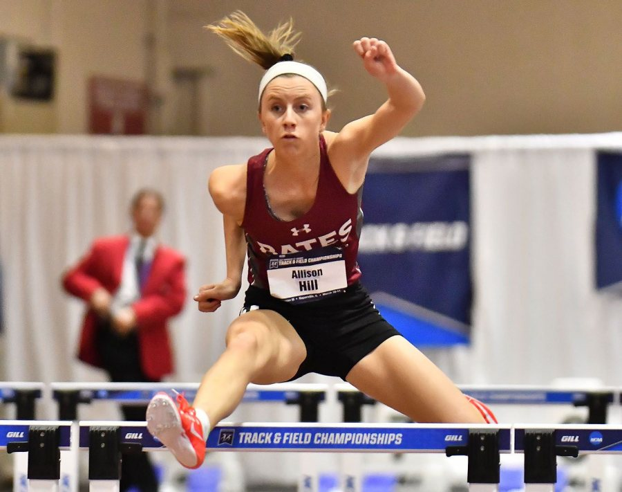In her 60-meter hurdle preliminary race at the NCAA Indoor Track and Field Championships on March 10, Allison Hill '17 clears the second hurdle before finding trouble at the third. (Photograph by d3photography.com)