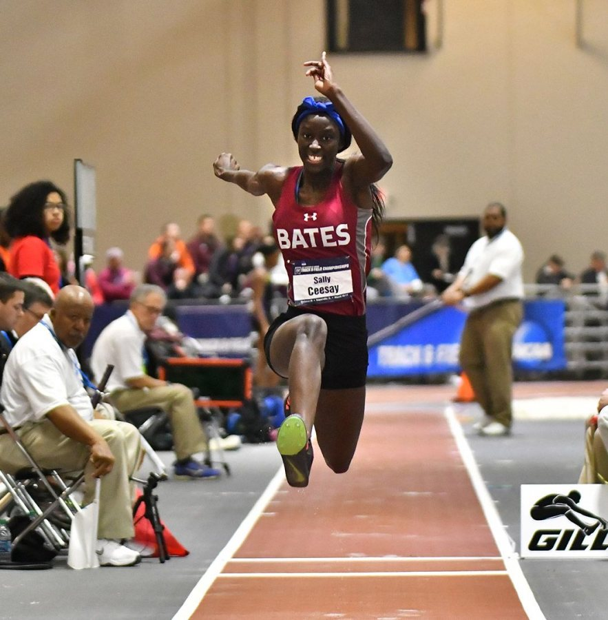 "Triple jumper Sally Ceesay '18 of Bronx, N.Y., earned All-America honors at the meeting. Hill, she says, ""is just a rock star."" (Photograph by d3photography.com)"