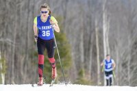 On a balmy February day, Sadie James '17 of Avon, Maine, skis her way to the 5K classical win at the Bates Carnival, becoming the first Bates woman in 14 years to win an EISA carnival Nordic race. (Steve Fuller '82/Flying Point Road)