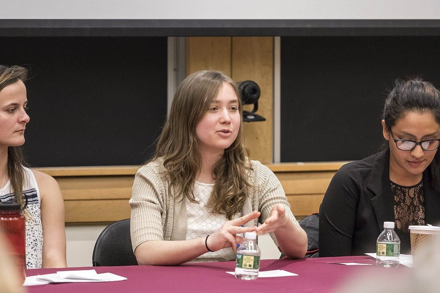 Claire Brown '17 presents her honors thesis research on Maine's Adult Drug Court system during the Mount David Summit on March 31. (Josh Kuckens/Bates College)