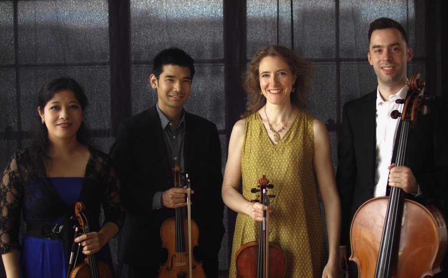 In concert May 12: the Momenta Quartet, with violinists Emilie-Anne Gendron and Alex Shiozaki, violist Stephanie Griffin and cellist Michael Haas. (John Gurrin)
