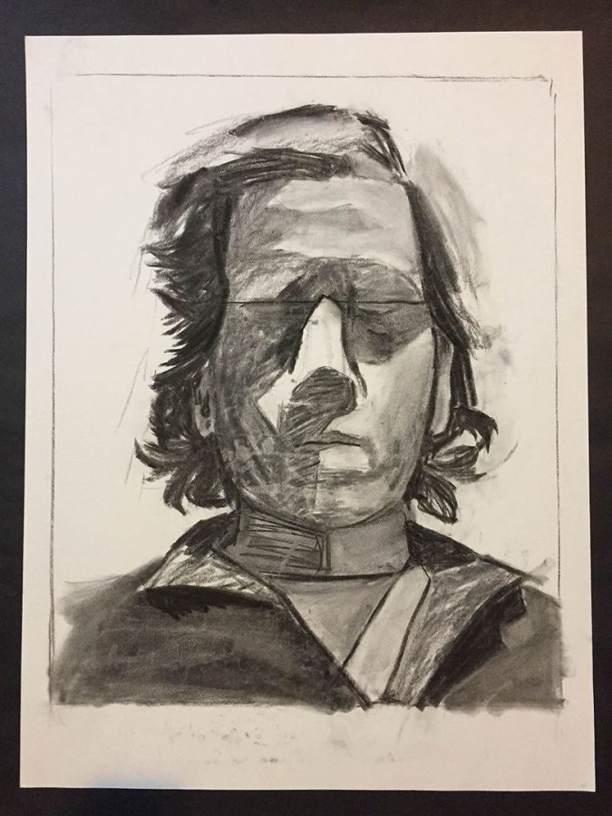 An untitled work from 2017 made in charcoal on paper by Tom Garone.
