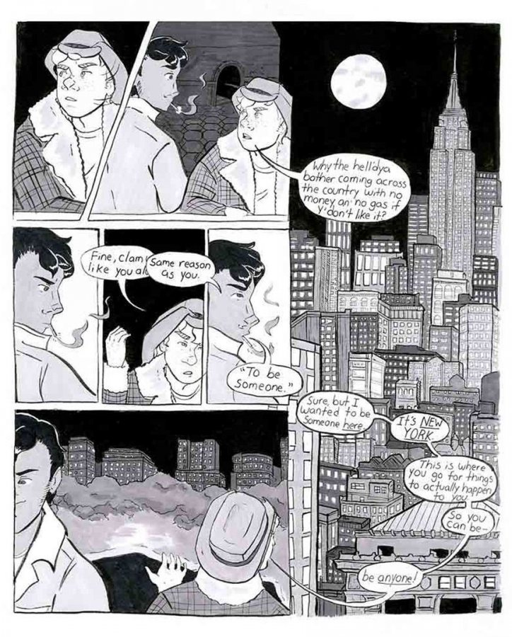 """A selection from """"The Only Living Boy in New York"""" by Cuyler Hedlund. Pen and permanent marker on Bristol board"""