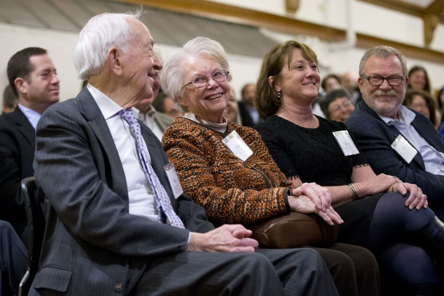 Two of the four Bates generations of the Bonney family are seen here. From left, Weston Bonney '50; his wife, Elaine Bonney; their daughter-in-law Alison Grott Bonney '80; and their son, Michael Bonney '80. (Phyllis Graber Jensen/Bates College)