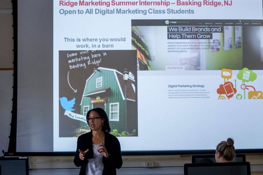 In addition to arranging internships for several of her digital marketing students, Ashley Hart '91 is helping all the students compile portfolios of their work in the course to help with the post-graduation job hunt. (Phyllis Graber Jensen/Bates College)