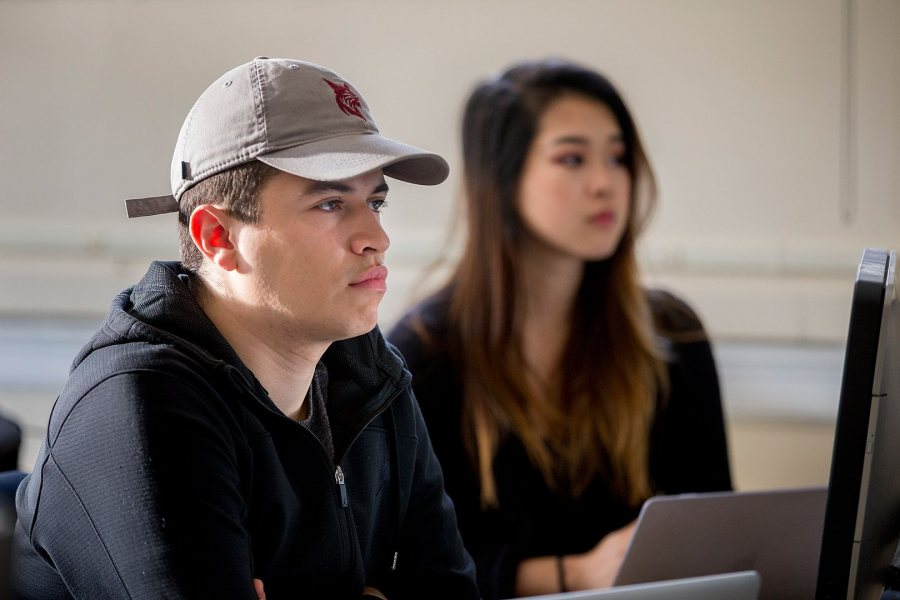 Christian Zavala '17 and Jennie Chen '20 are two members of a digital marketing team in a Short Term course taught by Ashley Hart '91. (Phyllis Graber Jensen/Bates College)