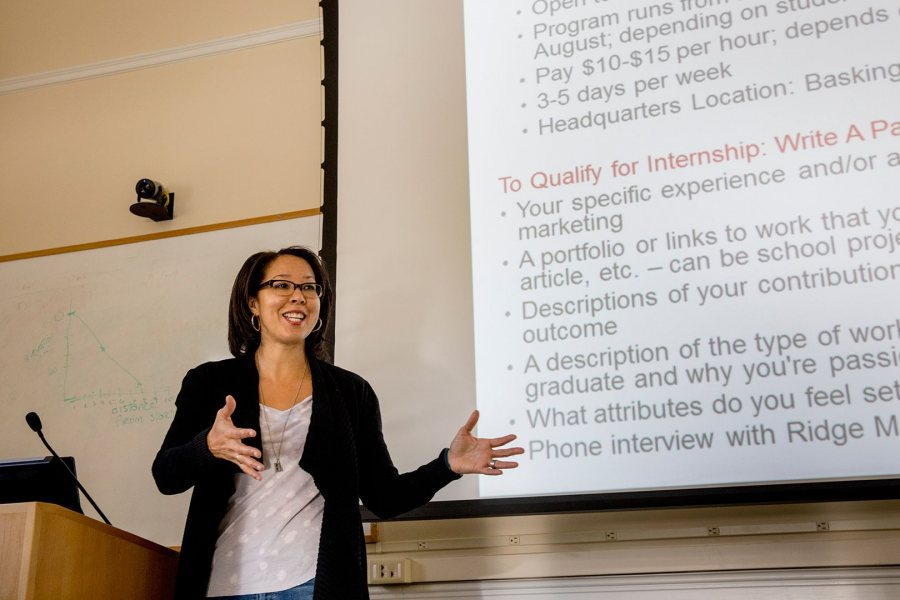 A marketing consultant with 25 years in the field, Ashley Hart '91 returned to Bates to teach a hands-on Short Term course on digital marketing. (Phyllis Graber Jensen/Bates College)