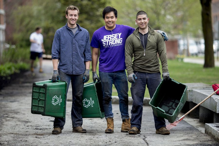 Max Millslagle '17 of Bend, Ore., JD Chow '17 of Montclair, N.J., and Diego Marcogliese '17 of Los Angeles take a brief break from work to pose for a photograph. (Phyllis Graber Jensen/Bates College)