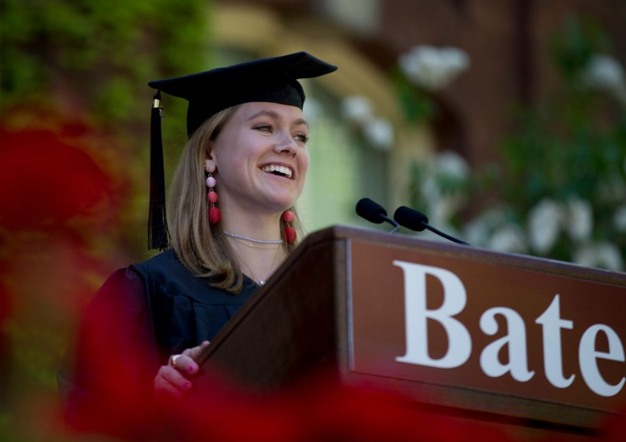 Molly Chisholm of Boston gave the senior address. (Phyllis Graber Jensen/Bates College)