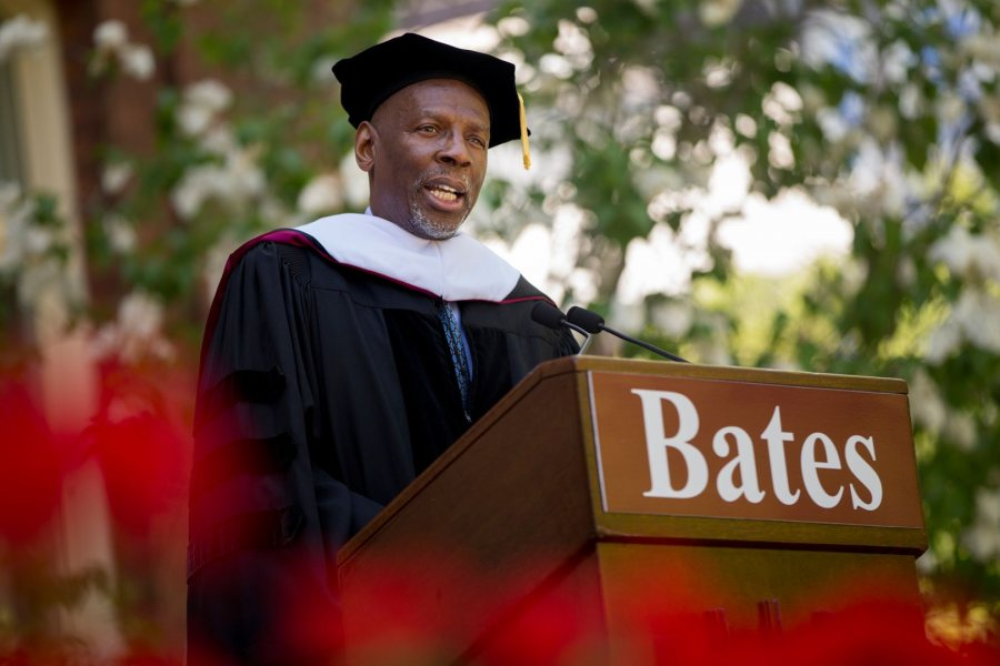 "Described as the ""guiding light of the Harlem Children's Zone,"" Geoffrey Canada gave the keynote address at Commencement 2017. (Phyllis Graber Jensen/Bates College)"