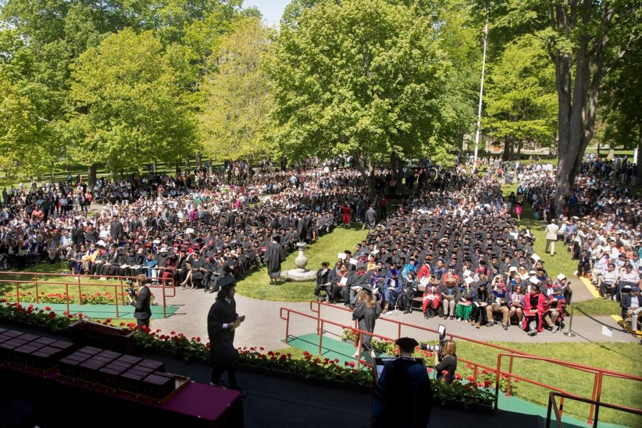 The Commencement 2017 gathering seen from an upper floor of Coram Library. For the first time in years, bleachers weren't used for Commencement seating. (Phyllis Graber Jensen/Bates College)