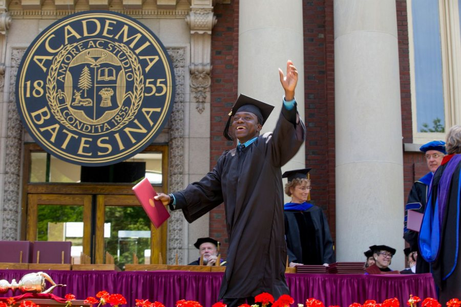 Gideon Ikpekaogu '17 of Amsterdam, the Netherlands, leaves the stage after receiving his bachelor's degree in economics. (Phyllis Graber Jensen/Bates College)