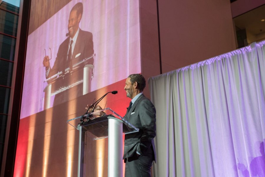 """Award-winning broadcast journalist Bryant Gumbel '70 says that while his grades didn't suggest it, Bates """"laid the seeds for a way of moving through the world: the notion that if I live authentically, stay true to my values and beliefs, put in the work, and believe in myself, I could find my place in the world and wind up a happier and more fulfilled person in the process."""" (Jared Charney Photography for Bates College)"""