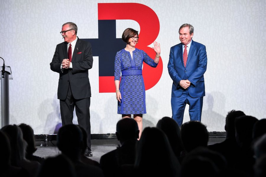 Co-chairs of The Bates Campaign are, from left, John Gillespie '80, P'13, P'18; Geraldine FitzGerald '75; and Michael Bonney '80, P'09, P'12, P'15. (Andree Kehn for Bates College)