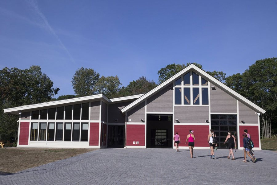 The donor-funded boathouse was dedicated on Oct. 29, 2016. (Andree Kehn for Bates College)