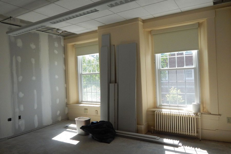 This ground floor space in Hathorn Hall is being renovated into offices for the neuroscience program. (Doug Hubley/Bates College)