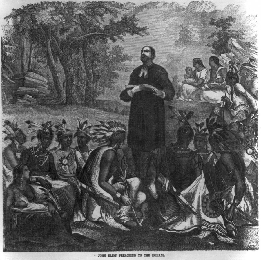 """John Eliot preaching to the Indians,"" a wood engraving published in Ballou's Pictorial, vol. 10, 1856. (Library of Congress Prints and Photographs Division)"