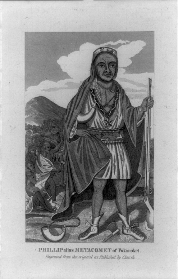 "The Wampanoag chief Metacomet depicted in a copy of an engraving by Paul Revere, published in ""The entertaining history of King Philip's war,"" by Thomas Church, 1772. (Library of Congress Prints and Photographs Division)"