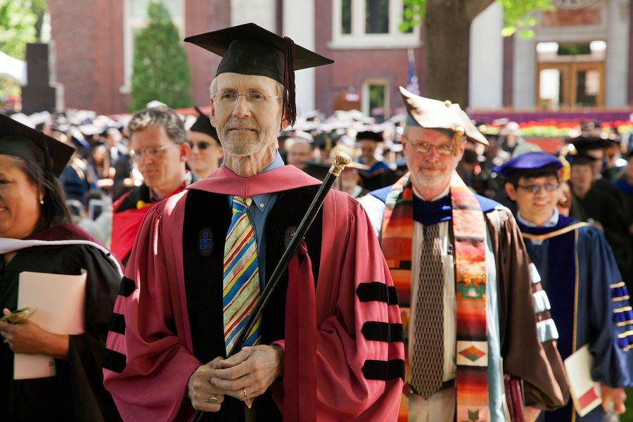 John Creasy marches in the academic procession at Commencement in 2012. (Phyllis Graber Jensen/Bates College)