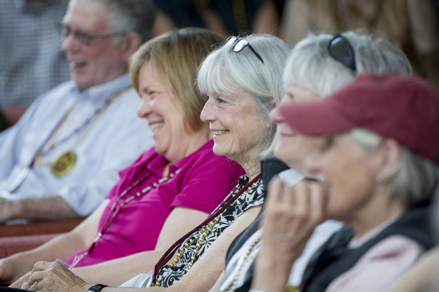 Audience members react as President Spencer interviews Elizabeth Strout '77. (Phyllis Graber Jensen/Bates College)