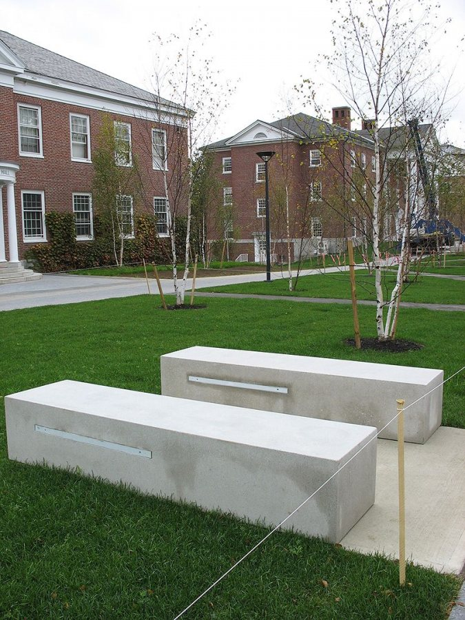 Alumni Walk benches. (Doug Hubley/Bates College)