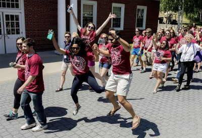 The Bates classes that celebrated 2017 Reunions, including the high-energy 5th Reunion Class of 2012, boosted their Bates Fund giving by 53 percent over 2016. (Phyllis Graber Jensen/Bates College)