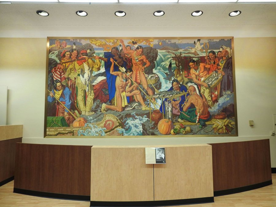 A mural by famed 20th century illustrator Dean Cornwell is on display in the lobby of a local credit union. The mural was completed in 1960 when the building housed Manufacturers National Bank.