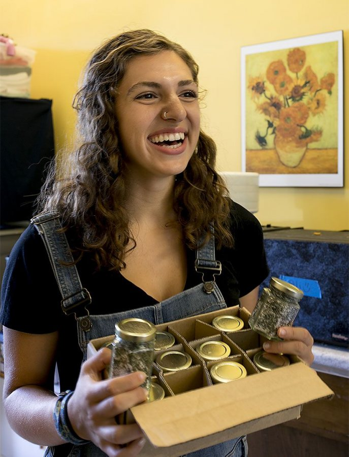 Politics major Grace Jurkovich '18 of St. Paul, Minn., is the garden and social enterprise coordinator at the Center for Wisdom's Women in Lewiston. S (Phyllis Graber Jensen/Bates College)