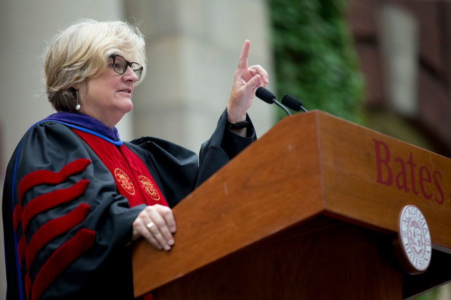 President Clayton Spencer's 2017 Convocation remarks took aim at the nation's inflamed politics and civic culture. (Phyllis Graber Jensen/Bates College)