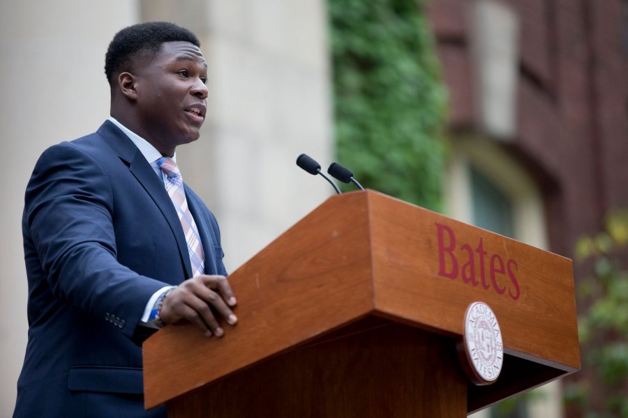 "The Bates Community gathers on the Historic Quad for the college's Opening Convocation, featuring a procession with the Class of 2021, faculty and senior staff, a welcome and introduction by President Clayton Spencer, greetings from Walter Washington '19 of Fleetwood, N.Y., president of the Bates College Student Government, a Convocation Address ""Summer Posts, Fall Possibilities,"" and a benediction by Brittany Longsdorf, multi faith Chaplain."