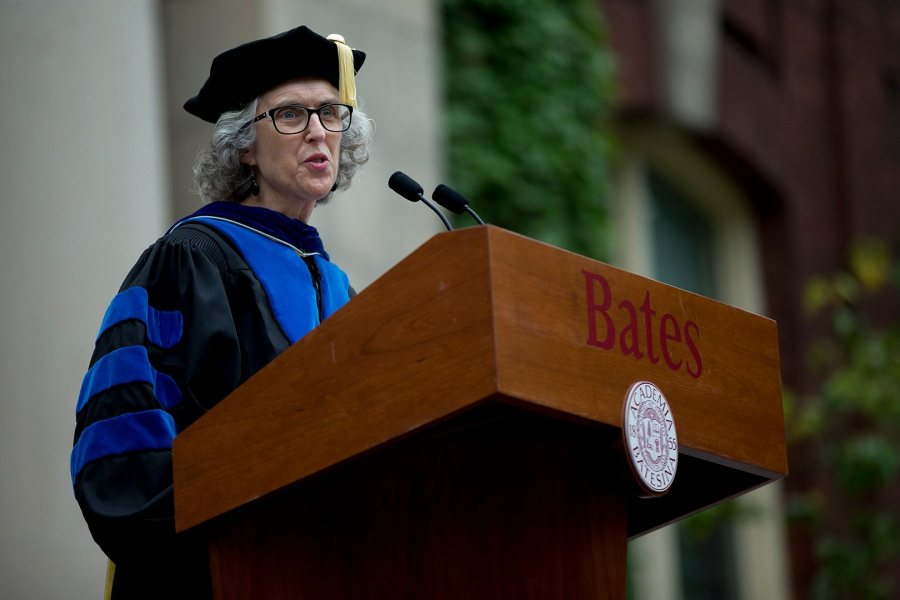 "Professor of Sociology Emily Kane gives the 2017 Convocation Address, titled ""Summer Posts, Fall Possibilities."" (Phyllis Graber Jensen/Bates College)"