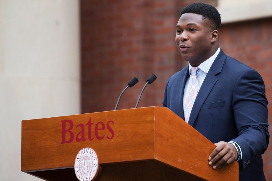 Walter Washington '19 of Fleetwood, N.Y., president of the Bates Student Government, delivers greetings to the Class of 2021 during the 2017 Convocation, on Sept. 5. (Theophil Syslo/Bates College)