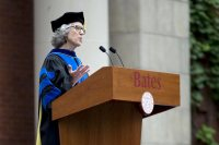 "Professor of Sociology Emily Kane delivers her Convocation address, ""Summer Posts, Fall Possibilities,"" on Sept. 5, 2017 (Phyllis Graber Jensen/Bates College)"